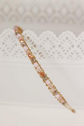 Diadema Brillos dorada y rosa palo