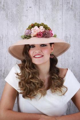 Sombrero ala ancha crudo con flores de colores