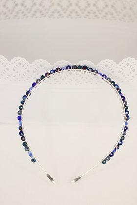 Diadema Brillos plata azul