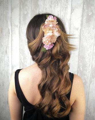 Peineta flores pastel vintage
