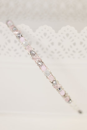 Diadema Brillos plata rosa palo