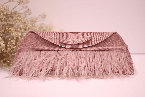 Bolso Lau rosa palo con plumas