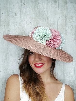 Base copete paja rosa palo y flores de pompones