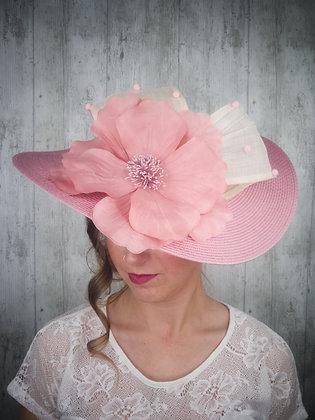 Base copete rosa palo con lazada y maxi flor