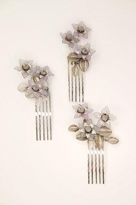 Trío flores gris