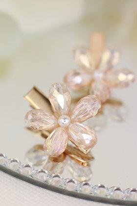 Pareja pincitas doradas con flor de cristal