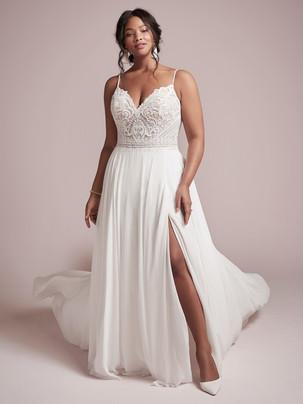 Lorraine Spaghetti strap A-line wedding dress with slit