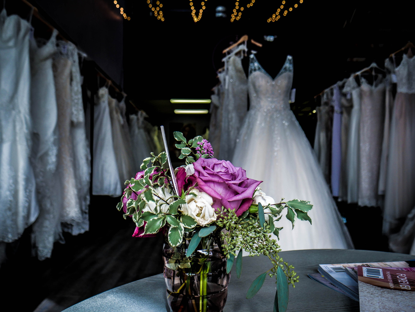 Beautiful view of a wonderful floral bouquet. Sit on the comfortable couches and look at the beautiful gowns while getting to know your personal consultant.
