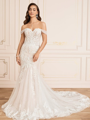 Collette lace fit 'n flare wedding dress with off the