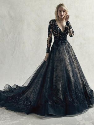 Zander black lace ballgown wedding dress