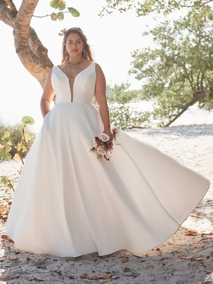 Pearl v-neck mikado a-line wedding dress