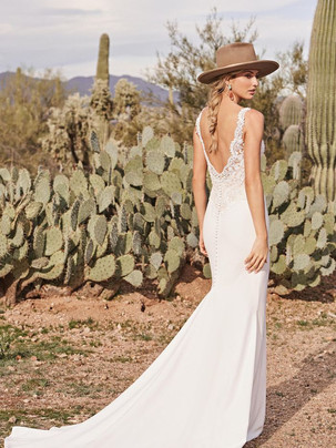 Chesney Fit 'n Flare lace top and cascading buttons wedding dress