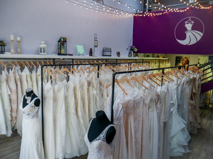 The view of wedding dresses in our Colorado Springs boutique. Browse through our unique and exclusive selection of wedding dresses. Boho, elegant, chic, beaded, lace, romantic, and more! Find your dream dress in a premier shopping experience. A private consultant will help you find the dress of your dreams!