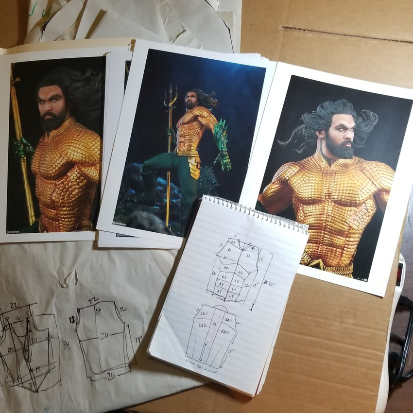 Planned out sections of the cosplay based on high-res photos of the Aquaman collectible figure