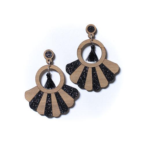 Boucles d'oreilles en bois Frida paillettes noir