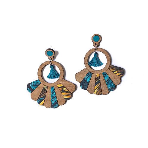 Boucles d'oreilles en bois Frida chrysanthème