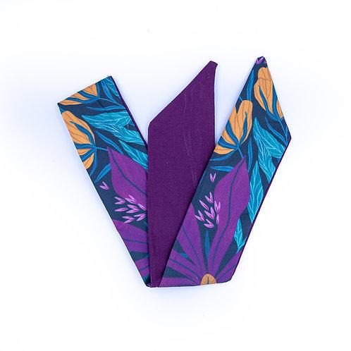 Bandeau cheveux réversible fleurs multicolor uni violine