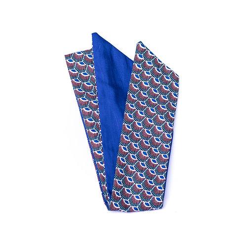 Bandeau wax bleu plumes de paon, reversible uni bleu