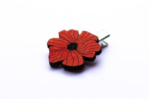 Barrette cheveux fleur coquelicot rouge en bois