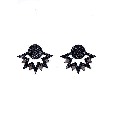Boucles d'oreilles flocon noir