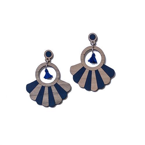 Boucles d'oreilles en bois Frida bleu