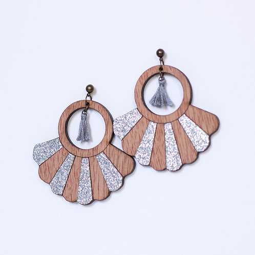 Boucles d'oreilles en bois et paillette argenté