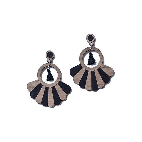 Boucles d'oreilles en bois Frida noir