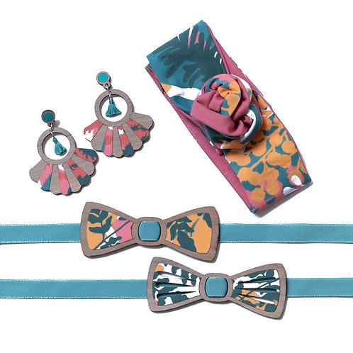 Coffret amour noeud papillon et boucles d'oreilles ou bandeau tissu mimosa