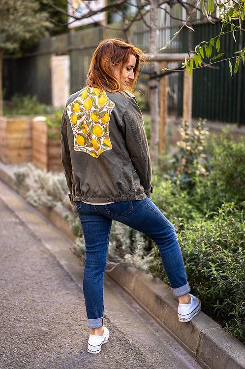 Veste kaki citron et biais doré taille S