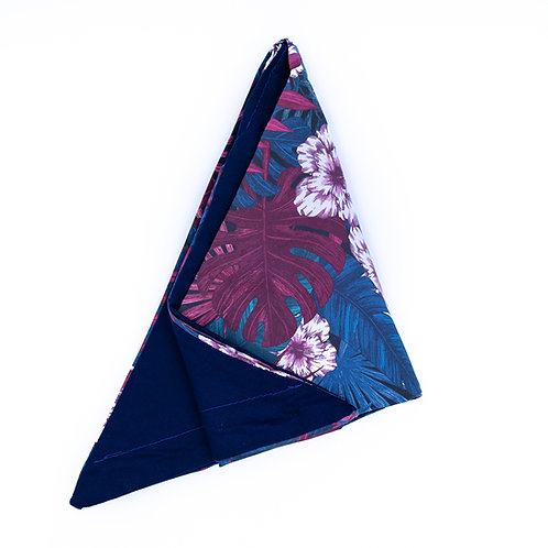 Turban réversible tropical et uni bleu marine