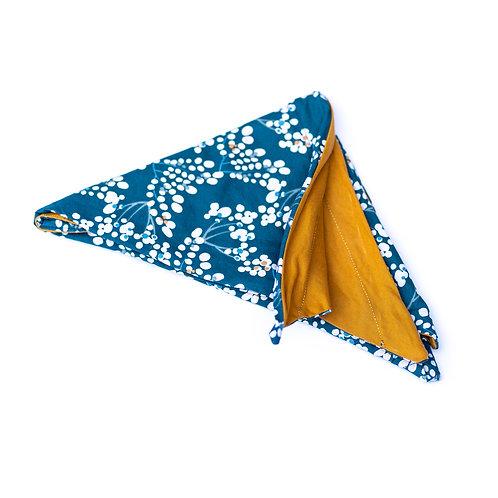 Turban réversible pois bleu