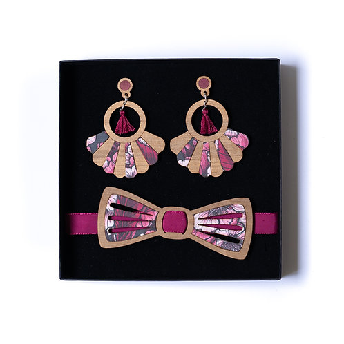 Coffret amour noeud papillon et boucles d'oreilles ou bandeau tissu cerisier