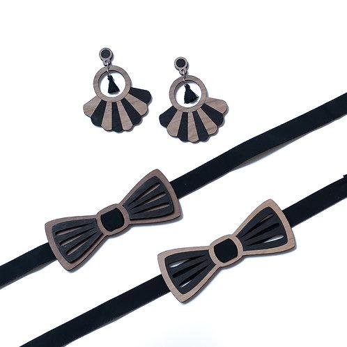 Coffret amour noeud papillon et boucles d'oreilles en bois,noir