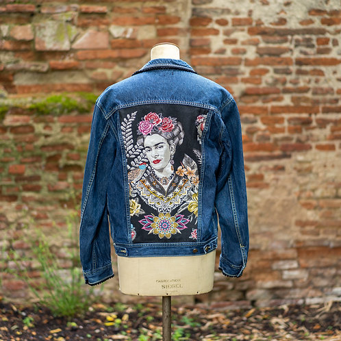 Veste en jean custom Frida noir taille XL