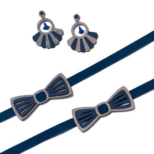 Coffret amour noeud papillon et boucles d'oreilles en bois, bleu
