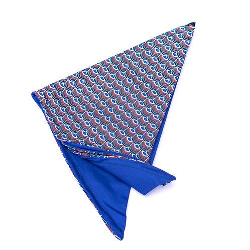 Turban wax paon bleu réversible