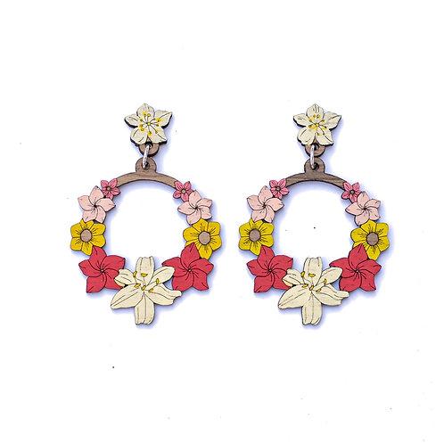 Boucles d'oreilles couronne de fleurs