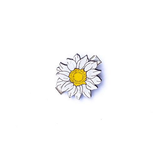 Barrette cheveux fleur marguerite en bois