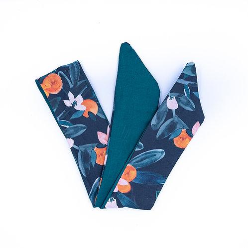 Bandeau cheveux réversible oranger et uni vert