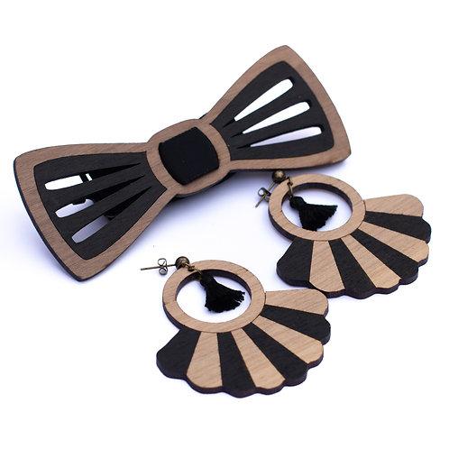 Coffret couple noeud papillon et boucles d'oreilles en bois Oscar noir