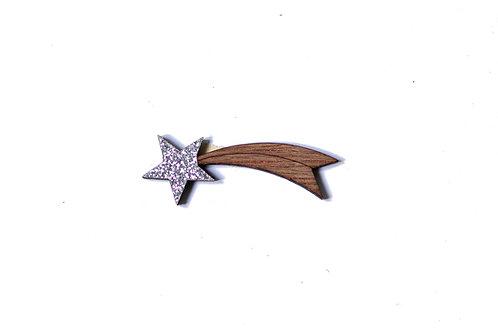 Pins étoile filante en bois et paillette