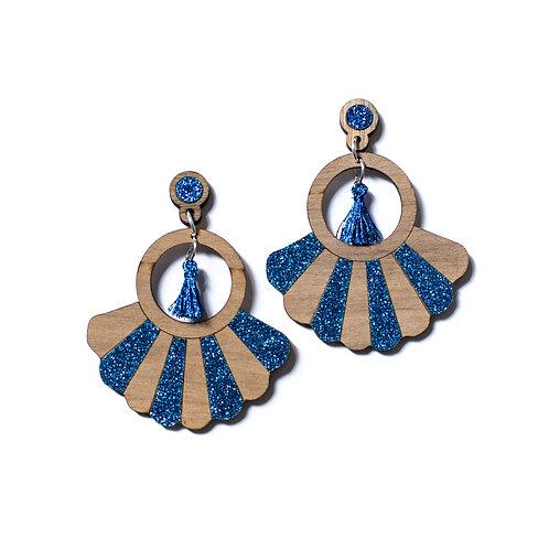 Boucles d'oreilles en bois Frida paillettes bleu