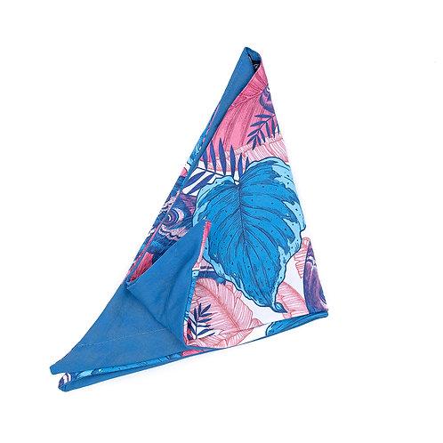 Turban réversible papillon et uni bleu