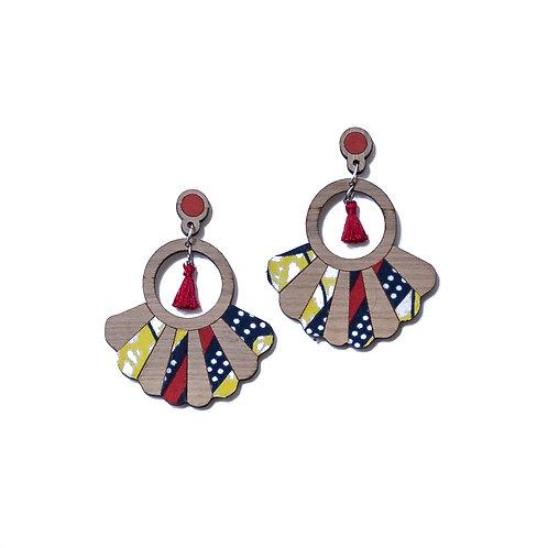 Boucles d'oreilles en bois Frida tissu wax jaune et rouge