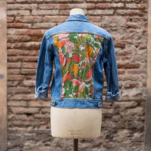 Veste en jean customisée vintage tissu fleurs et glace