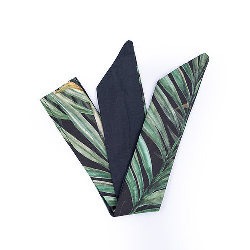 Bandeau cheveux réversible feuilles palmier et uni gris anthracite