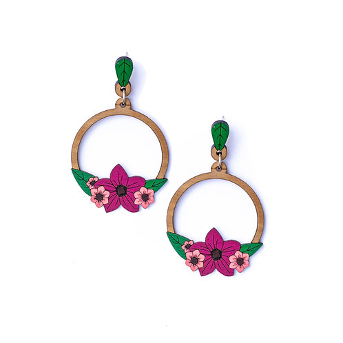 Boucles d'oreilles créoles fleurs en bois