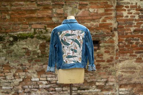 Veste en jean custom motif végétal taille L