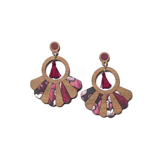 Boucles d'oreilles en bois Frida fleurs cerisier
