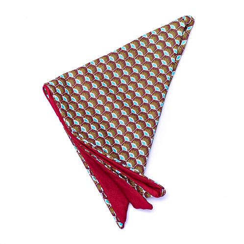Turban wax paon rouge réversible